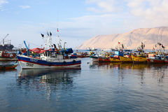 Fishing Boats in Iquique, Chile. IQUIQUE, CHILE - JANUARY 22, 2015: Fishing boats anchoring in the port of Iquique on January 22, 2015 in Iquique, Chile. Iquique Stock Photography