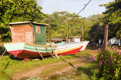 Fishing boats in jungle Big Corn Island Nicaragua Stock Photos