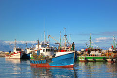 Fishing Boats at Kalk Bay Harbor royalty free stock photos