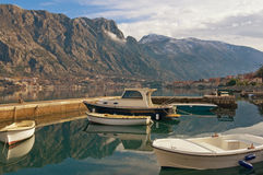 Fishing boats in Kotor Bay. Montenegro Royalty Free Stock Photography