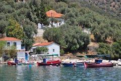 Fishing boats at Kottes. Village, south Pelion, Greece Royalty Free Stock Photos