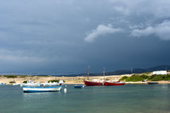 Fishing boats in Koufonisi island. Greece in a cloudy day foretelling a storm Stock Photography