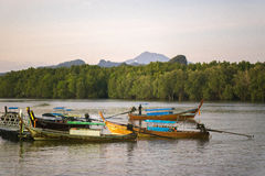 Fishing boats in Krabi. Traditional fishing boats on the coast of krabi in thailand Stock Photography