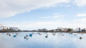Fishing Boats in the Laguna `Charco de San Gines`. In Arrecife.  Arrecife is a Spanish port city on the island of Lanzarote Royalty Free Stock Image