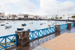 Fishing Boats in the Laguna `Charco de San Gines`. In Arrecife.  Arrecife is a Spanish port city on the island of Lanzarote Stock Image