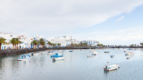 Fishing Boats in the Laguna `Charco de San Gines`. In Arrecife.  Arrecife is a Spanish port city on the island of Lanzarote Stock Images