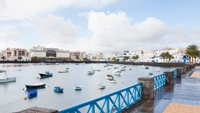 Fishing Boats in the Laguna `Charco de San Gines`. In Arrecife.  Arrecife is a Spanish port city on the island of Lanzarote Royalty Free Stock Photography