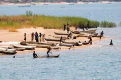 Fishing Boats on Lake Malawi. Unidentified People and Fishing Boats on Lake Malawi at Cape Mc Clear Stock Photos