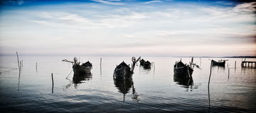 Fishing boats on the lake Royalty Free Stock Photo