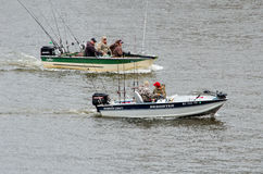 Fishing boats on the lake Stock Photography