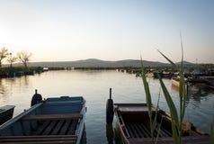 Fishing Boats at Lake Velence. Fishing Boats at Lake in the Evening stock photos
