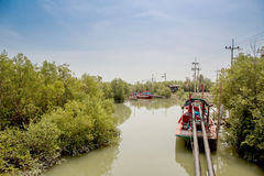 Fishing boats line up on the river Royalty Free Stock Photography