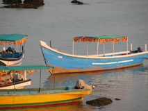 Fishing boats lined along the shore. India, Karnataka Royalty Free Stock Photo