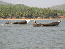 Fishing boats lined along the shore. India, Karnataka Stock Image