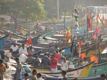 Free Fishing Boats Lined Along The Shore. India, Karnataka Royalty Free Stock Photos - 85161038