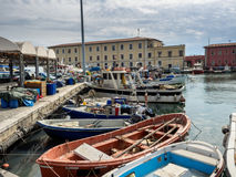 Fishing boats in Livorno harbor, Italy Stock Image