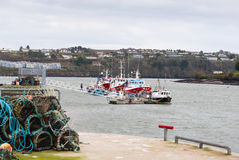 Fishing boats and lobster traps Stock Photography