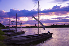 Fishing boats in Loire river at sunset Royalty Free Stock Photo