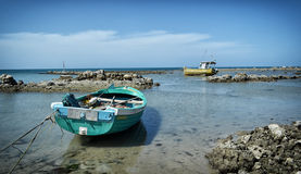 Fishing Boats at low tide Royalty Free Stock Photo