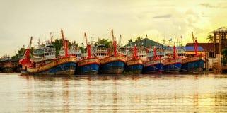 Fishing boats in Maeklong Thailand Stock Image