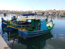 Colorful Fishing boats on the island of Malta Stock Photo