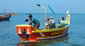 Fishing boats at Marari Beach, Kerala, India Royalty Free Stock Image