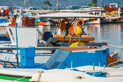 Fishing boats in the marina. Close up Stock Photos