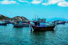 Fishing boats in marina at Nha Trang, Vietnam Royalty Free Stock Photos