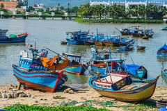 Fishing boats in marina at Vietnam Stock Image