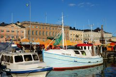 Fishing boats at the Market Square in Helsinki, Finland Stock Photography