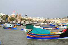 Fishing boats in Marsaxlokk harbor, Malta Royalty Free Stock Photo