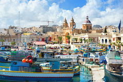 Fishing boats in Marsaxlokk harbour. Malta Stock Image