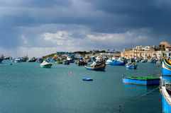 Fishing boats in Marsaxlokk village,  Malta Royalty Free Stock Image