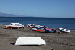 Fishing boats on mediterranean beach Royalty Free Stock Photography