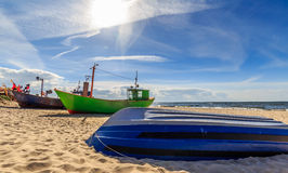 Fishing boats in Miedzyzdroje. Fishing boats on the beach in Miedzyzdroje. Nature background Stock Images