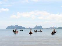 Fishing boats moored along the beach Stock Photos