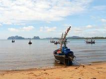Fishing boats moored along the beach Royalty Free Stock Photo