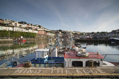 Fishing boats moored in brixham harbour, devon Royalty Free Stock Images