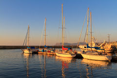 Fishing boats moored in Crete Royalty Free Stock Images