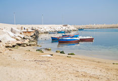Fishing boats moored at Giovinazzo beach. Royalty Free Stock Photo