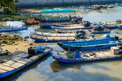 Fishing boats in the harbor. Fishing boats moored in the harbor, Fujian, China Royalty Free Stock Photos