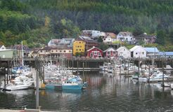 Ketchikan Alaska harbor boats royalty free stock photo
