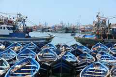 Fishing boats. Moored in the harbor of the sea side village of Essaouira, Morocco Stock Photos