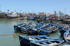 Fishing boats. Moored in the harbor of the sea side village of Essaouira, Morocco Stock Image