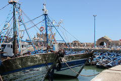 Fishing boats. Moored in the harbor of the sea side village of Essaouira, Morocco Royalty Free Stock Photo