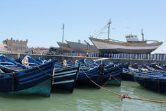 Fishing boats. Moored in the harbor of the sea side village of Essaouira, Morocco Stock Photo