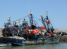 Fishing boats. Moored in the harbor of the sea side village of Essaouira, Morocco Stock Images