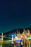 Fishing boats moored in the harbor at the starry sky, Chanthabur Royalty Free Stock Image