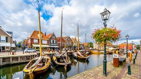 Fishing Boats Moored In The Harbor Of Bunschoten-Spakenburg In Stock Image