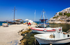 Fishing boats moored in the Kolymbia harbor Royalty Free Stock Image